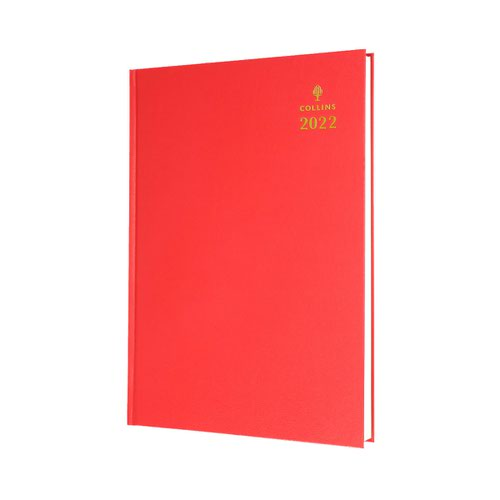 Collins Standard Desk 44 A4 Day To Page 2022 Diary Red 44.15-22
