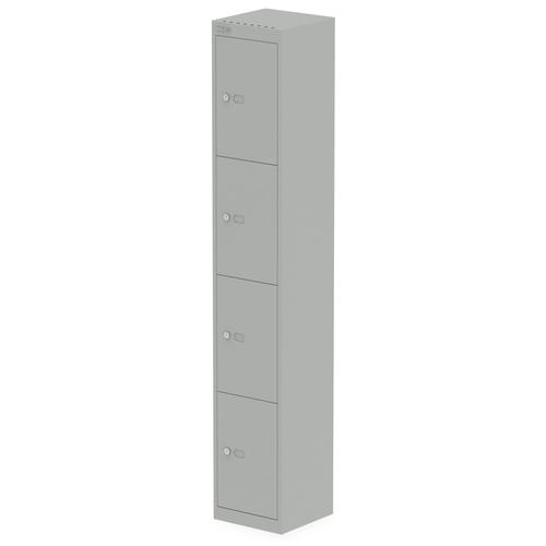 Qube by Bisley 4 Door Locker 1800mm 305mm Depth Goose Grey BS0018