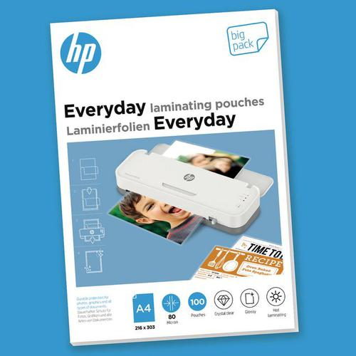 HP Everyday Laminating Pouches A4 80 micron Pack 100 9154