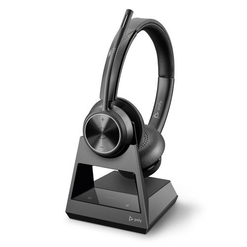 Poly Savi 7320 Office DECT EMEA Wireless Stereo Headset Crystal Clear Sound Effects Boom Microphone