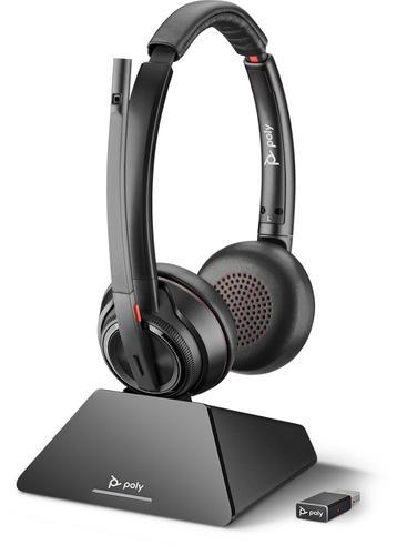 Poly Savi 8220 UC Wireless Bluetooth DECT Binuaral Stereo Headset SoundGuard DIGITAL 118 dB Sensitivity 32 Ohm Impedance