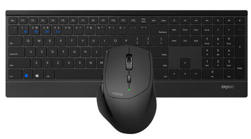 Rapoo 9500M RF Wireless Blueooth Slim Desktop Combo Set QWERTY English Full Size Keyboard and 1600 DPI Optical 6 Button Mouse