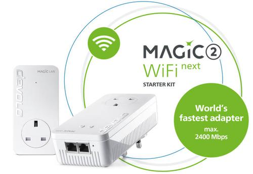 Devolo Magic 2 WiFi Next Starter Kit 2x LAN Pass Thru 2x Plugs Multi User MIMO Technology Plug and Play