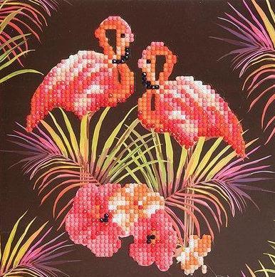 Crystal Art Pink Flamingos 18 x 18cm Card CCK-A7