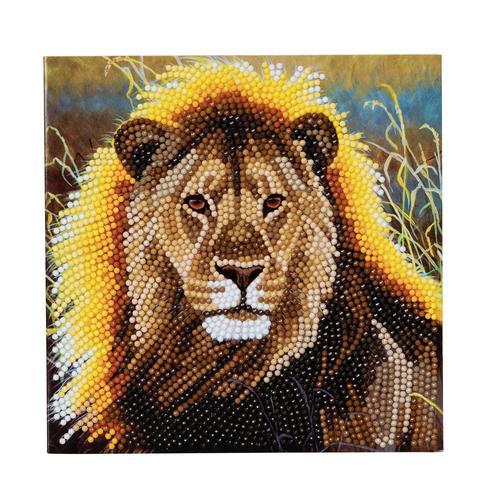 Crystal Art Resting Lion 18 x 18cm Card CCK-A13