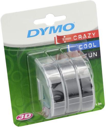 DYMO Embossing Tape 9mm x 3m Black (Pack 3) S0847730