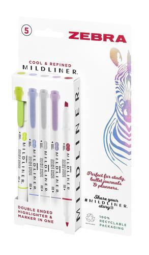 Zebra Mildliner Twin Tip Highlighter Marker Assorted Cool and Refined (Pack 5) 2690
