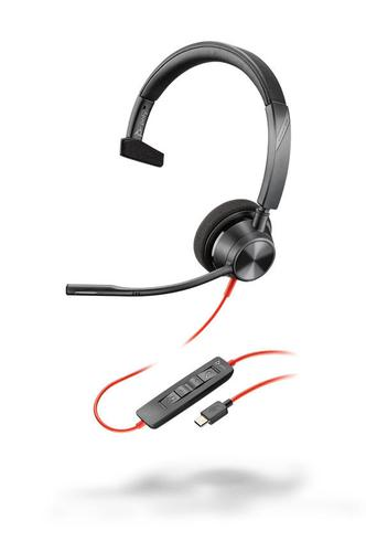 Poly Blackwire 3310 USB C Wired Monaural Headset Flexible Noise Cancelling Microphone Digital SoundGuard Protection