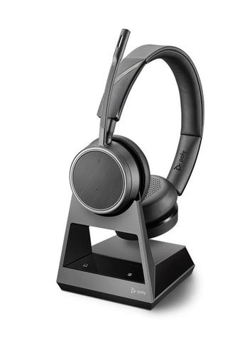 Poly Voyager 4220 Office 2 Way Base USB A Binaural Stereo Bluetooth Headset Flexible Noise Cancelling Microphone Boom