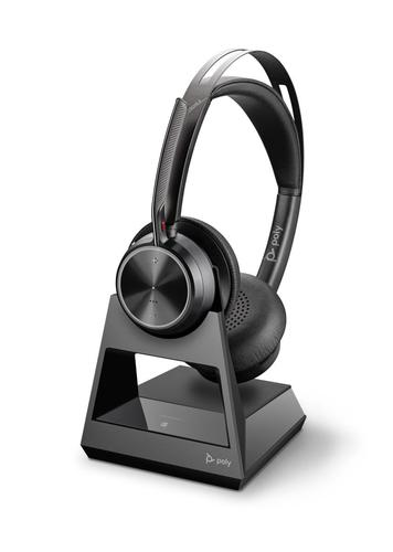 Poly Voyager Focus 2 Office CD USB A Stereo Headset with Charging Stand Bluetooth Advanced Digital Hybrid Active Noise Cancellation