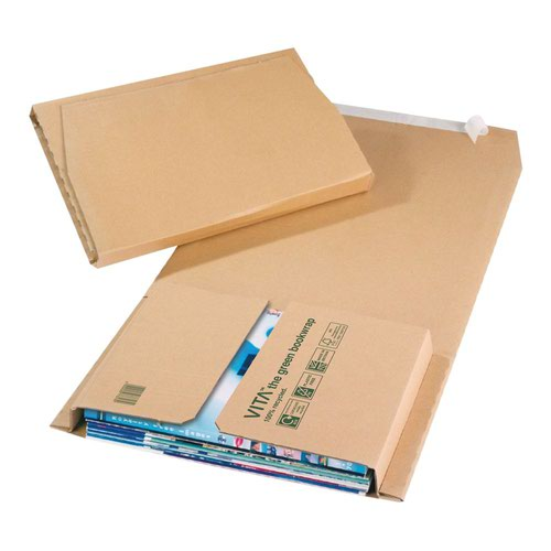 Vita Purely Packaging Green Bookwrap Peel and Seal 217x155x52mm Manilla (Pack 25 ) BWM02