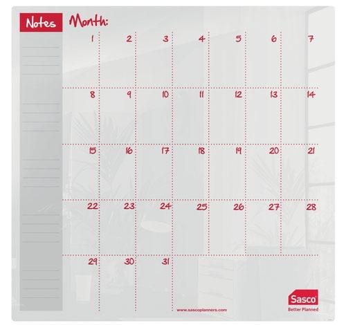 Sasco Month Planner Acrylic Desktop 450 x 450mm 2410185