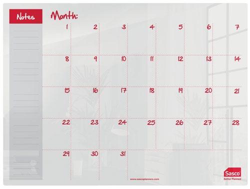 Sasco Month Planner Acrylic Desktop 600 x 450mm 2410186