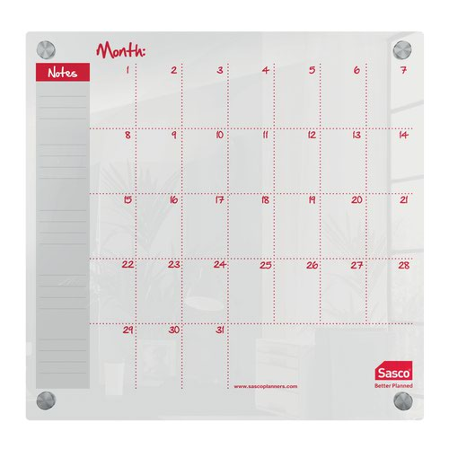Sasco Month Planner Acrylic Mounted 450 x 450mm 2410188