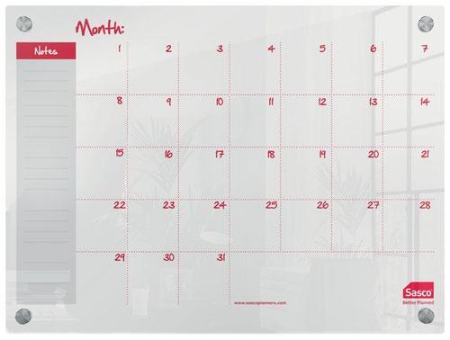 Sasco Week Planner Acrylic Mounted 600 x 450mm 2410189