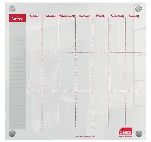 Sasco Week Planner Acrylic Mounted 450 x 450mm 2410182