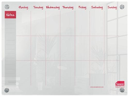 Sasco Week Planner Acrylic Mounted 600 x 450mm 2410183