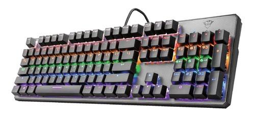 Trust GXT 865 Asta Mechanical USB 2.0 104 Keys QWERTY UK International Keyboard Black