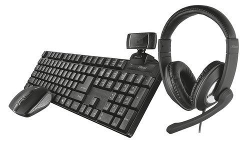 Trust Qoby 4 in 1 Home Office Set RF Wireless Keyboard and 1600 DPI Mouse Set and 720p Trino HD Webcam and Wired Reno Headset
