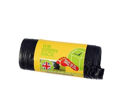 The Green Sack Swing Bin Liners 50 Litre Black Roll 20 Sacks 0703127
