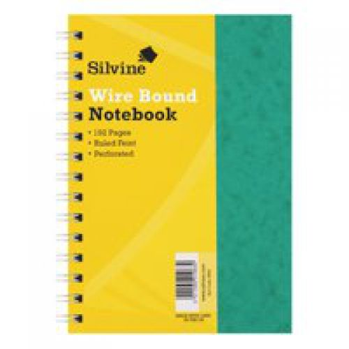 Silvine Luxpad A5 Wirebound Notebook Sidebound 80g Ruled & Perf 200 Pg Green SPA5 [Pack 6]