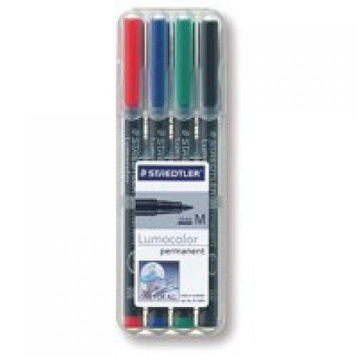 Staedtler Lumocolor OHP Pen Permanent Medium 0.8mm Assorted (Pack 4)