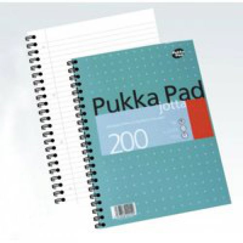 Pukka Pad Jotta A4 Wirebound Card Cover Notebook Ruled 200 Pages Metallic Green (Pack 3)