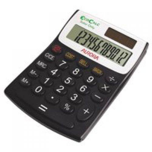 Aurora EcoCalc Desktop Calculator Recycled Solar And Battery Power 12 Digit 3 Key Memory