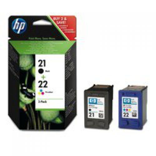 HP 21/ 22 Black Standard Capacity Tricolour Ink Cartridge 2x 5ml Twinpack - SD367AE