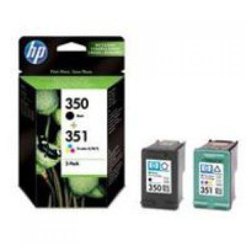 HP 350/ 351 Black Standard Capacity Tricolour Ink Cartridge 4.5ml 3.5ml Twinpack - SD412EE