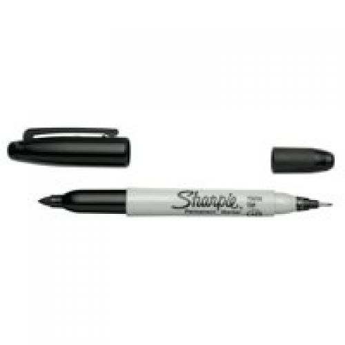 Sharpie Twin Tip Permanent Marker 0.5mm and 0.7mm Line Black (Pack 12)