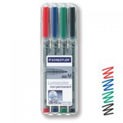 Staedtler Lumocolor OHP Pen Non-Permanent Medium 0.8mm Line Assorted Colours (Pack 4)