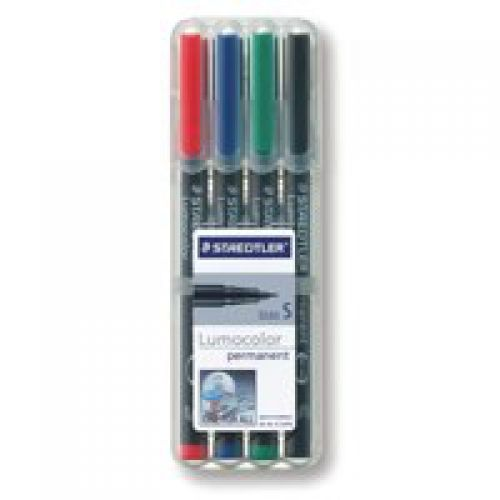 Staedtler Lumocolor OHP Pen Permanent Superfine 0.4mm Line Assorted Colours (Pack 4)