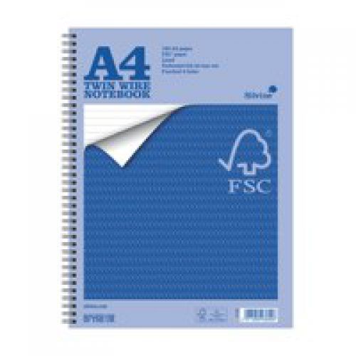Silvine A4 Notebook Twin Wirebound FSC Paper Perforated 160 Pages (Pack 5)
