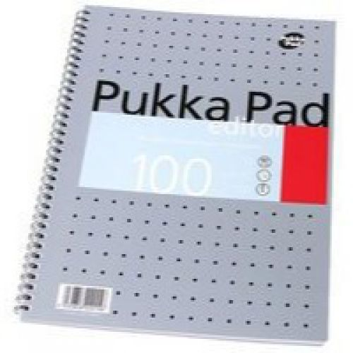 Pukka Pad Editor A4 Wirebound Card Cover Notebook Ruled 100 Pages Metallic Silver (Pack 3)