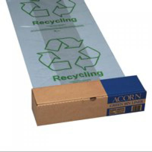Green Bin Liners Capacity 60 Litres Clear and Printed [Pack 50]
