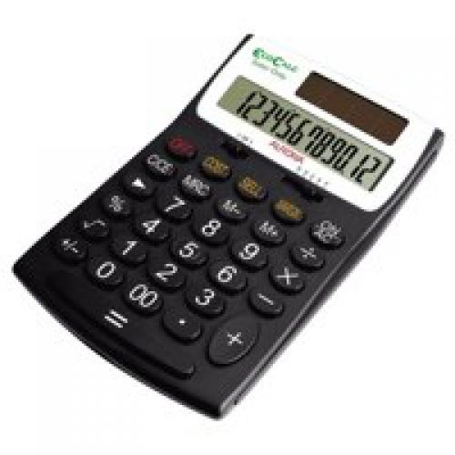 Aurora EcoCalc Desktop Calculator Recycled Solar And Battery Power 12 Digit 3 Key Memory