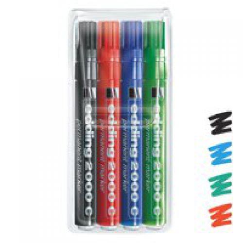 Edding 2000C Permanent Marker Bullet Tip 1.5-3mm Line Assorted Colours (Pack 4)