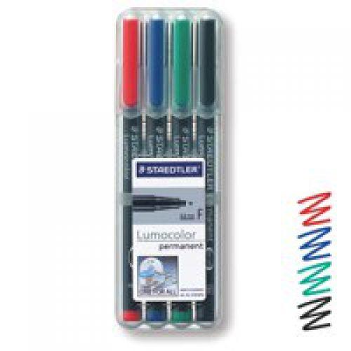 Staedtler Lumocolor OHP Pen Permanent Fine 0.6mm Assorted (Pack 4)