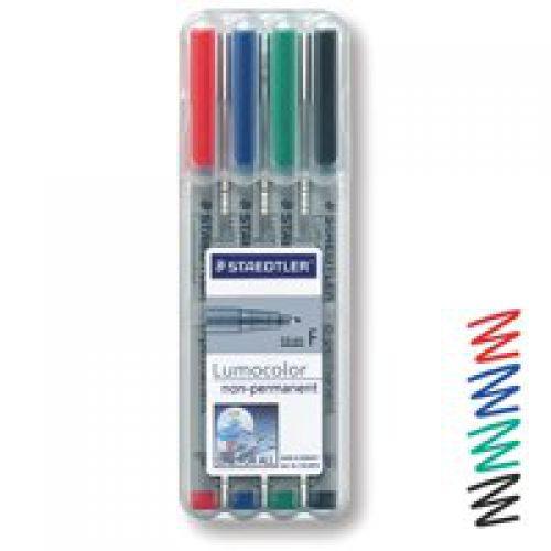 Staedtler Lumocolor OHP Pen Non-Permanent Fine 0.6 Assorted (Pack 4)