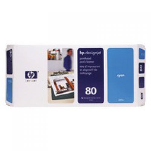 HP C4821A 80 Cyan Printhead And Cleaner 17ml