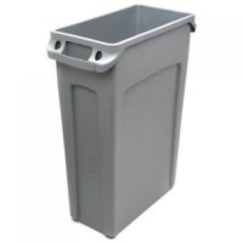 Rubbermaid Slim Jim Recycling Bin with Venting Channels 87 Litres Grey 3540-60