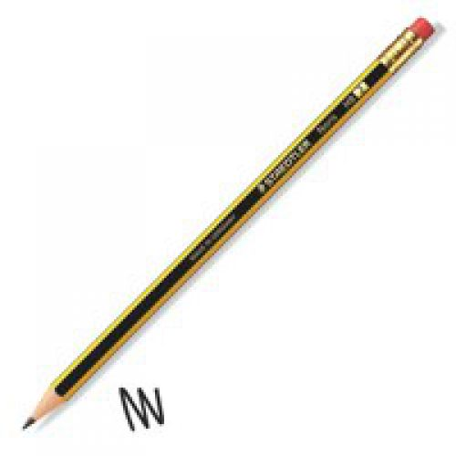 Staedtler Noris HB Pencil Rubber Tip Black Yellow (Pack 12)