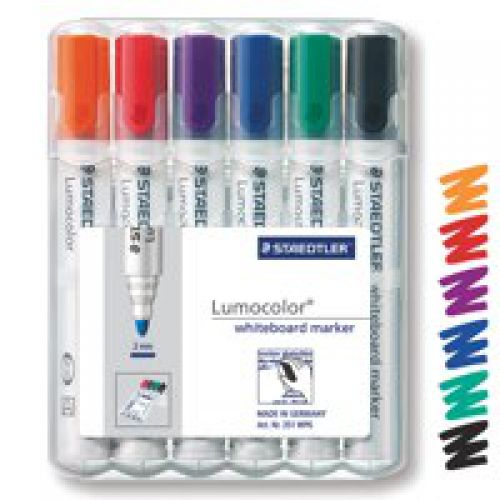 Staedtler Lumo Whiteboard Marker Bullet Tip Assorted Colours PK6