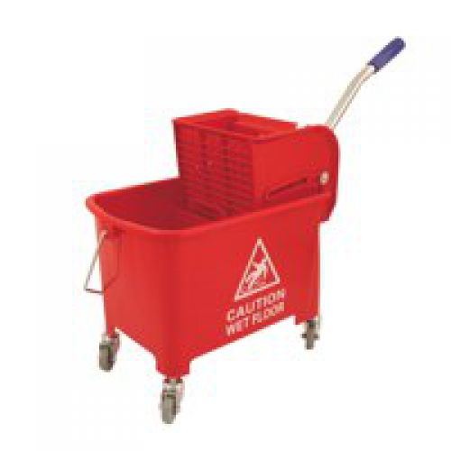 Charles Bentley Mop Bucket Mobile Colour-Coded with Handle 4 Castors 20 Litre Red