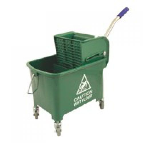 Charles Bentley Mop Bucket Mobile Colour-Coded with Handle 4 Castors 20 Litre Green
