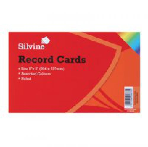 ValueX Record Cards 203x127mm Ruled Assorted Colours (Pack 100)