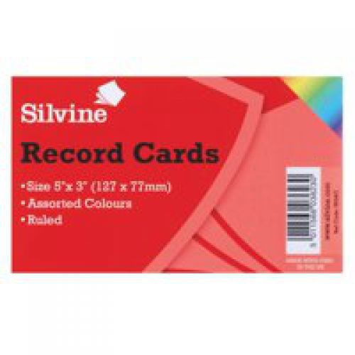 ValueX Record Cards 126x77mm Ruled Assorted Colours (Pack 100)