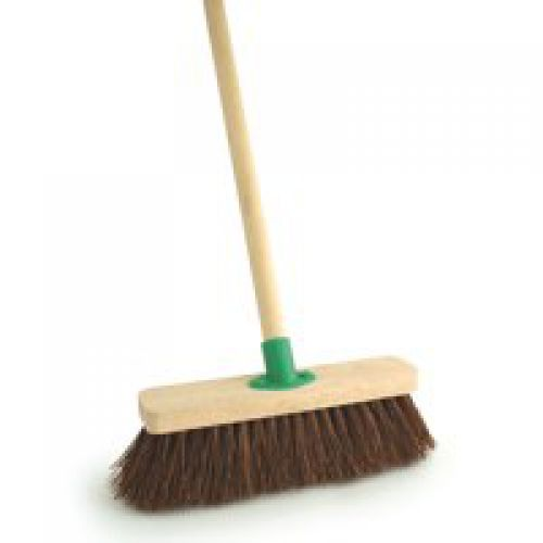 Outdoor Broom 12in Stiff Brush Complete with Handle
