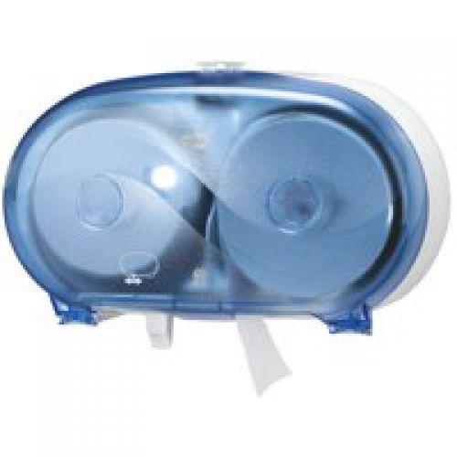 Tork 472056 T7 Twin Coreless Mid-Size Toilet Roll Dispenser Blue